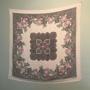 Vintage blush pink paisley floral tapestry scarf